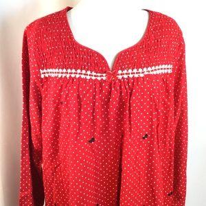 Laura Scott Red Flannel Polka Dot Bow Nightgown XL 39cb3bf66